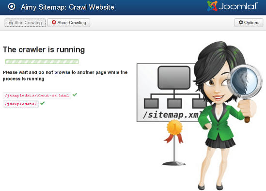 Aimy Sitemap crawling a Joomla! website