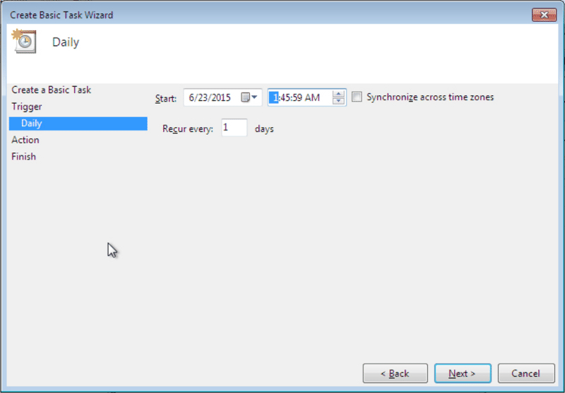 Configure the daily start time