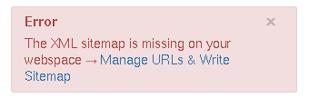 Warning iff XML-Sitemap is missing