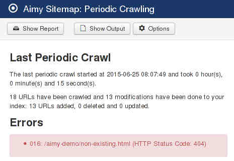 Aimy Sitemap - Periodic Crawl Short Report