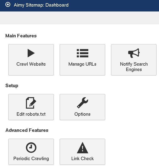 New icons on Aimy Sitemap's dashboard